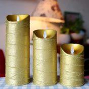 Bewegliche Flamme Gold LED Kerze