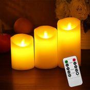 Set Flammenlose LED Echtwachskerzen
