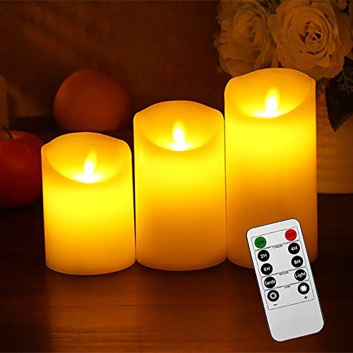 liqoo 3er set flammenlose led echtwachskerzen. Black Bedroom Furniture Sets. Home Design Ideas