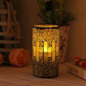 Mosaik Glas mit flammenloser LED Kerze